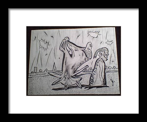 Framed Print featuring the drawing Hey Hey Hmmm by Randall Wells