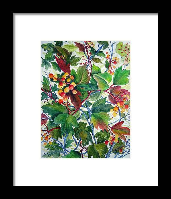 Hi Bush Cranberries Framed Print featuring the painting Hi-bush Cranberries by Joanne Smoley
