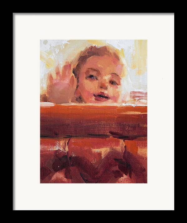 Child Framed Print featuring the painting Hi There by Merle Keller