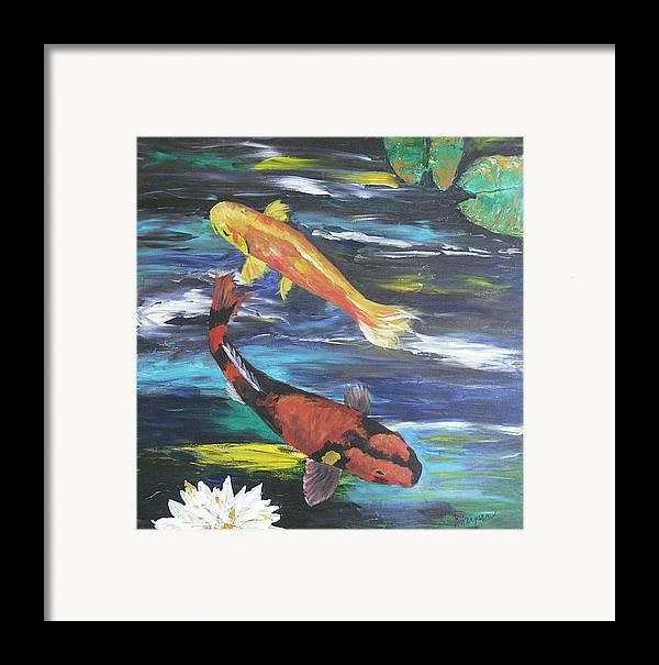 Koi Framed Print featuring the painting Hi Utsuri And Doitsu Koi by Barbara Harper