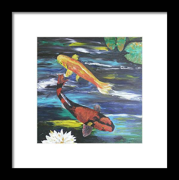 Koi Framed Print featuring the painting Hi Utsuri And Doitsu Koi by Barbara Harper