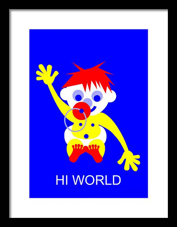 Hi World Framed Print featuring the digital art Hi World by Asbjorn Lonvig