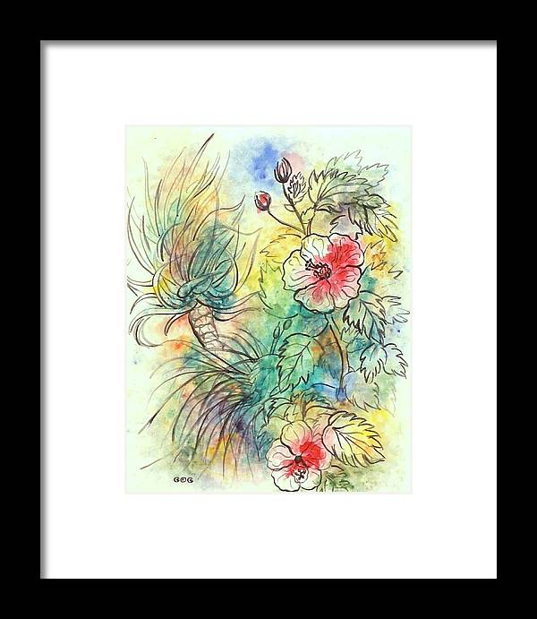 Acrylics Framed Print featuring the painting Hibiscus 2 by George I Perez
