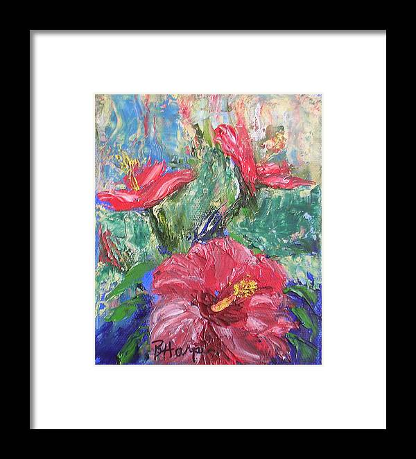 Hibiscus Framed Print featuring the painting Hibiscus Abstract by Barbara Harper