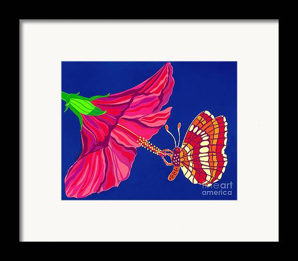 Nature Framed Print featuring the drawing Hibiscus And Butterfly by Lucyna A M Green
