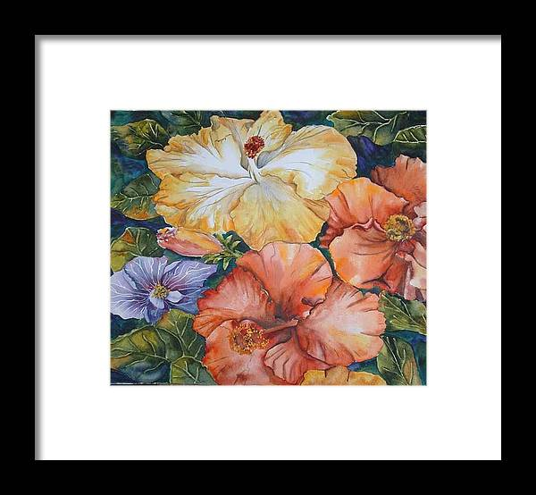 Watercolor Framed Print featuring the painting Hibiscus by Diane Ziemski