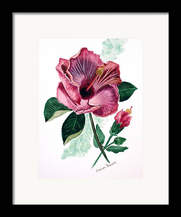 Flora Painting L Hibiscus Painting Pink Flower Painting Greeting Card Painting Framed Print featuring the painting Hibiscus Dusky Rose by Karin Dawn Kelshall- Best