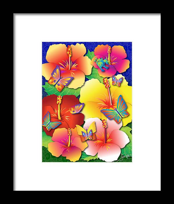 Hibiscus Framed Print featuring the digital art Hibiscus Feast by Jack Potter