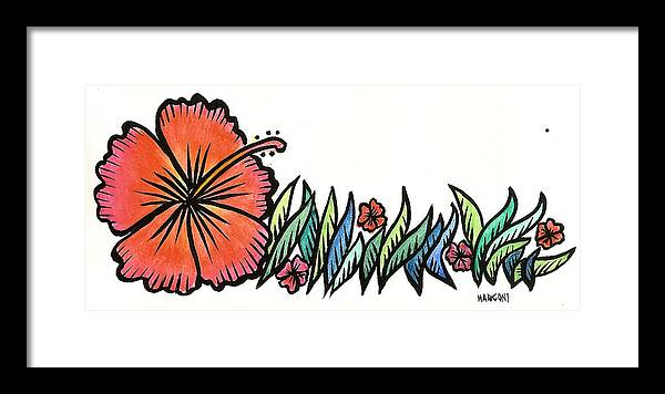 Framed Print featuring the painting Hibiscus Guam 2009 by Marconi Calindas