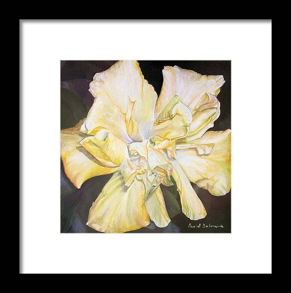 Floral Painting Framed Print featuring the painting Hibiscus Jaune by Muriel Dolemieux