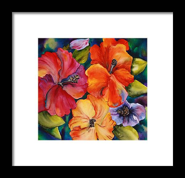 Floral Framed Print featuring the painting Hibiscus mini by Diane Ziemski