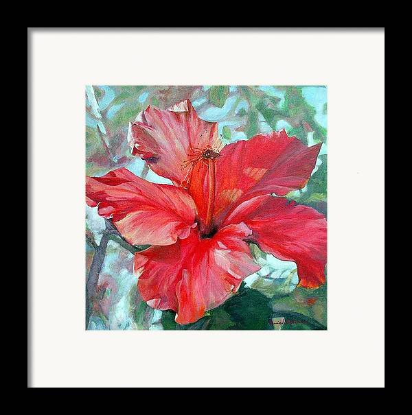 Floral Painting Framed Print featuring the painting Hibiscus Rouge by Muriel Dolemieux