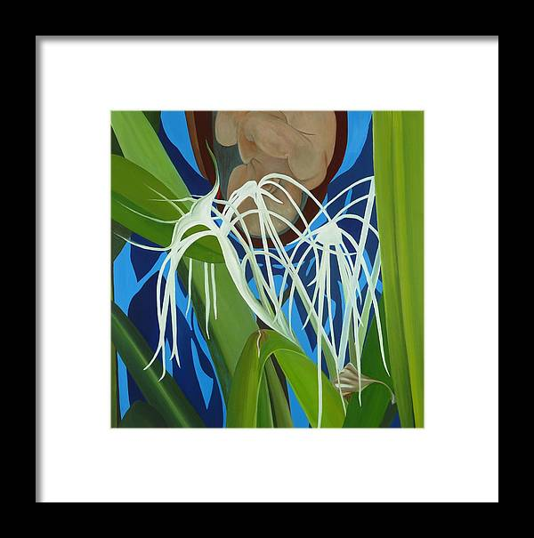 Floral Framed Print featuring the painting Hidden Behind II by Sunhee Kim Jung