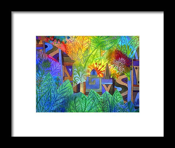 Jungle Mysterious Tropical Lost City Caribbean Bright Colours Framed Print featuring the painting Hidden City by Jennifer Baird