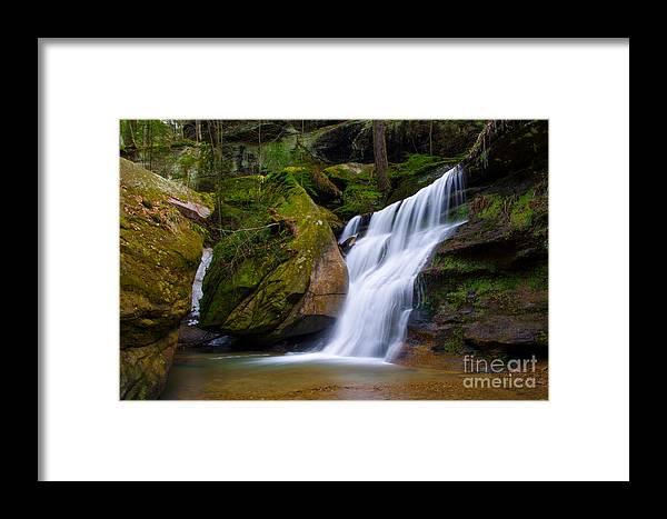 Hocking Hills Framed Print featuring the photograph Hidden Hocking Hills Waterfall Ohio by Ina Kratzsch