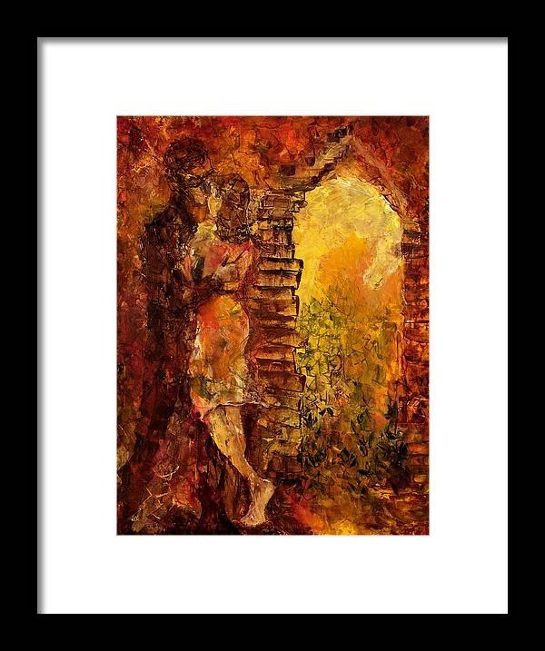 Oil Framed Print featuring the painting Hidden Kiss by Olga Gernovski