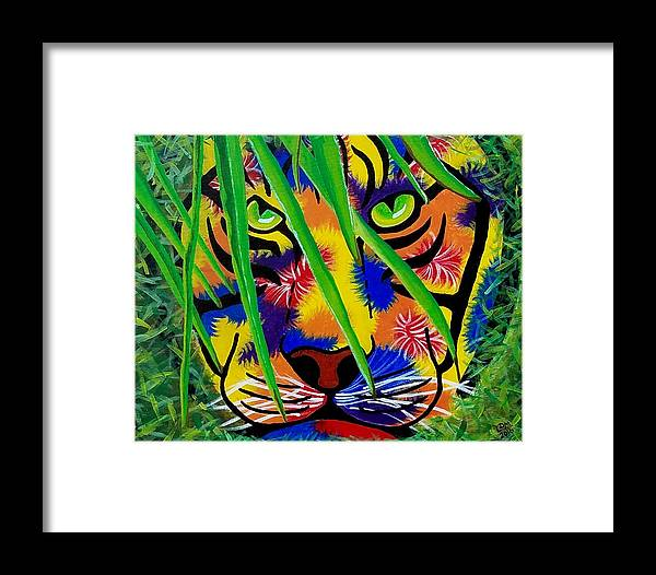 Tiger Eye Prey Animal Forest Abstract Portrait Framed Print featuring the painting Hidden by Lakeesha Mitchell