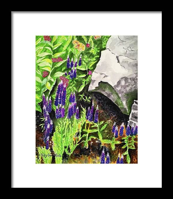 Landscape Framed Print featuring the painting Hidden Treasures by Judy Swerlick