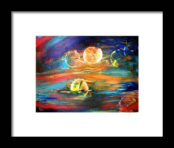 Abstract Framed Print featuring the painting Hidden Worlds by Robin Monroe
