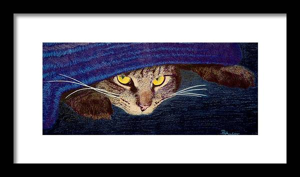 Maine Coon Cat Framed Print featuring the drawing Hide And Seek by Brent Ander