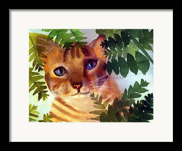 A Pet Cat Hides Behind Palms Framed Print featuring the print Hide And Seek Cat by George Markiewicz