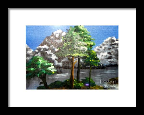 Landscape Framed Print featuring the painting Hideaway by Saundra Johnson