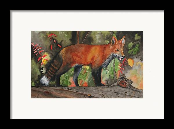 Fox Framed Print featuring the painting Hiding In Plain Sight by Jean Blackmer