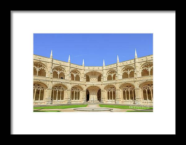 Lisbon Framed Print featuring the photograph Hieronymites Monastery Courtyard by Benny Marty