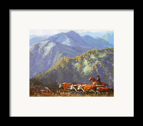 Cattle Framed Print featuring the painting High Country Muster by Sue Linton