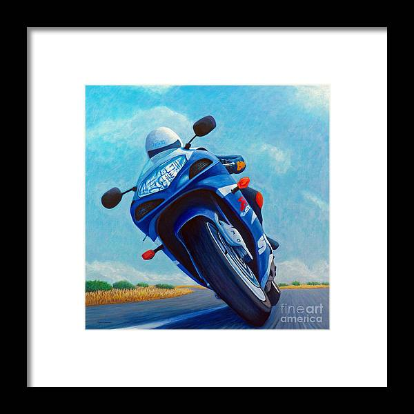 Motorcycle Framed Print featuring the painting High Desert Pass - Suzuki Gsxr1000 by Brian Commerford