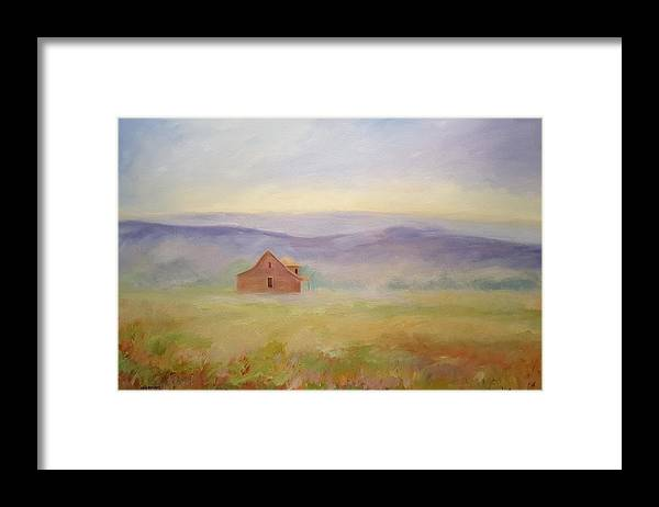 Old House In Landscape Framed Print featuring the painting High Lonesome by Ginger Concepcion