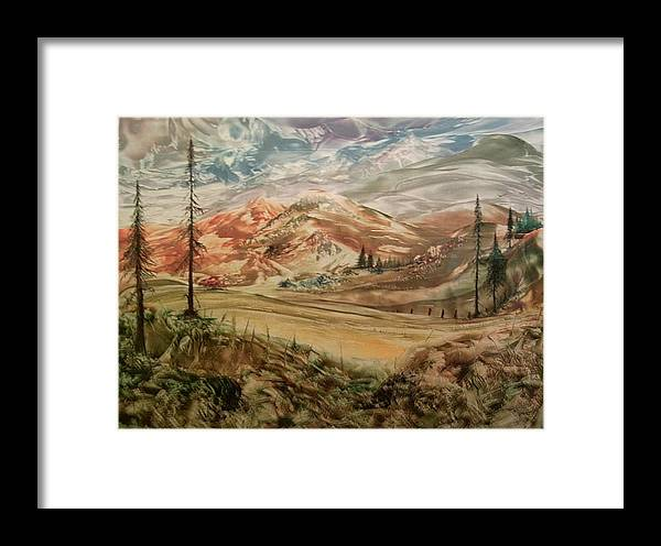 Landscape Framed Print featuring the painting High Meadowland by John Vandebrooke