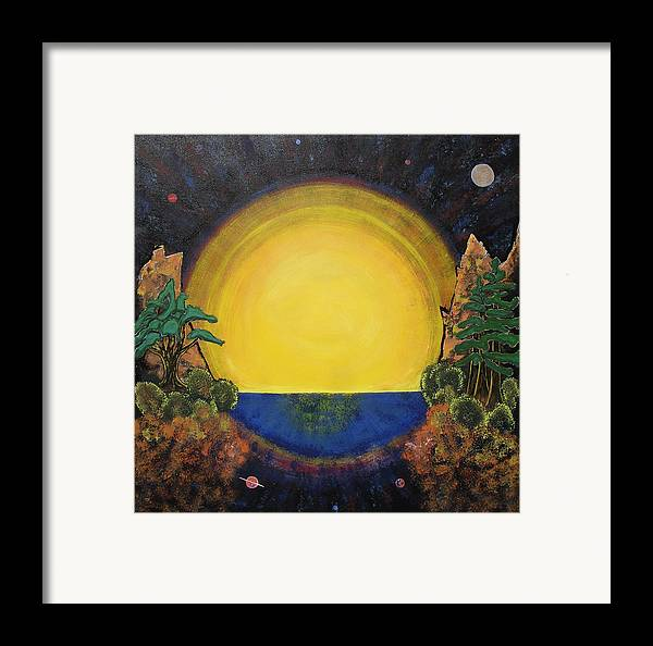 Sunset Mountain Cosmic Space Ocean Golden Framed Print featuring the painting High Mountain Sunset by Eric Singleton