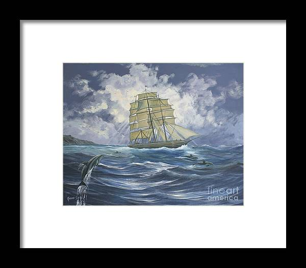 Dj Khamis Framed Print featuring the painting High Seas Adventure by Dj Khamis