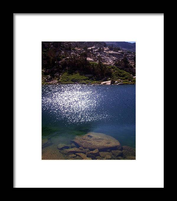 Landscape Water Lake Waterscape Trees Mountains Photo Photograph Blu Green Sky Rocks Framed Print featuring the photograph High Sierrastreasure Lakes Viii by Sarah Stiles