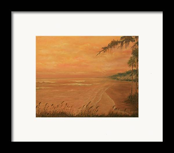Beach; Ocean; Palm Trees; Water Framed Print featuring the painting High Tide by Ben Kiger