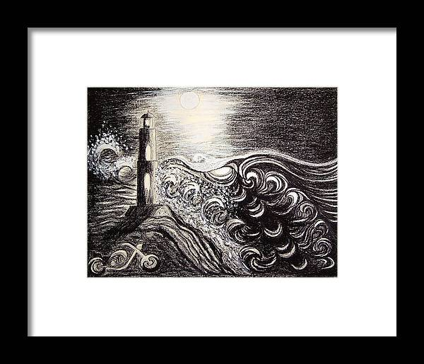Full Moon Framed Print featuring the drawing High Tide by Ingrid Szabo