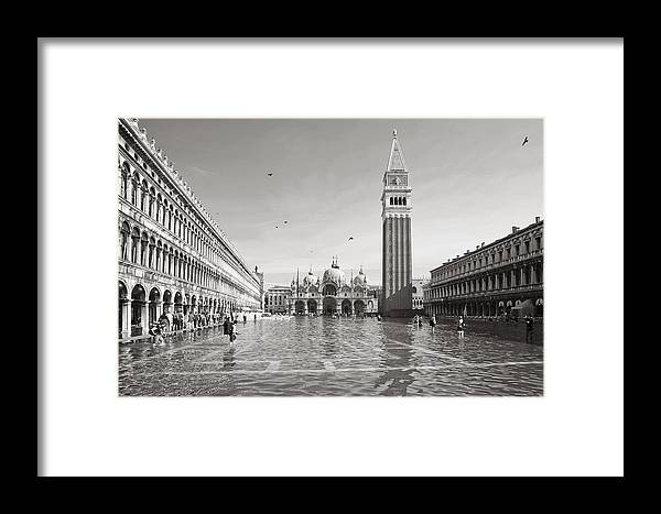 Venice Framed Print featuring the photograph High Water In S.marco Square by Marco Missiaja