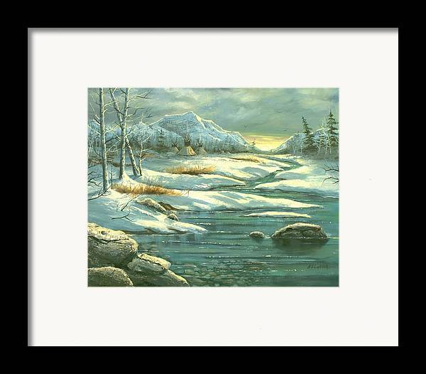 Landscape Framed Print featuring the painting High Winter Camp by Brooke Lyman