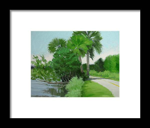 Landscape Framed Print featuring the painting Highbridge Road Trees by Robert Rohrich