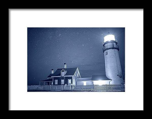 Highland Framed Print featuring the photograph Highland Lighthouse Truro Ma Cape Cod Monochrome Blue Nights by Toby McGuire