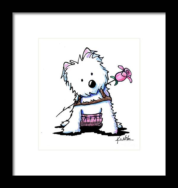 Westie Framed Print featuring the drawing Highland Princess by Kim Niles
