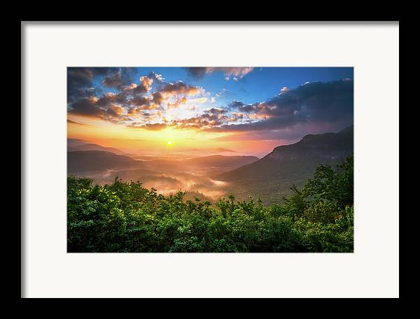 Sunset Framed Print featuring the photograph Highlands Sunrise - Whitesides Mountain In Highlands Nc by Dave Allen