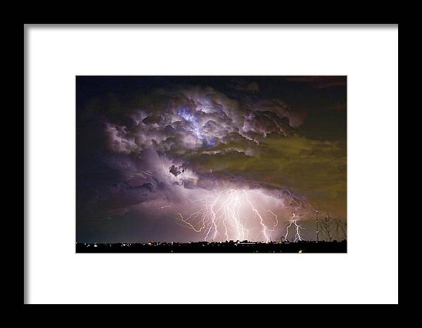 Colorado Lightning Framed Print featuring the photograph Highway 52 Storm Cell - Two And Half Minutes Lightning Strikes by James BO Insogna