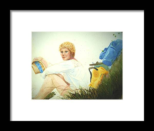 Hiking Framed Print featuring the painting Hiking Na Pali by Judy Fischer Walton