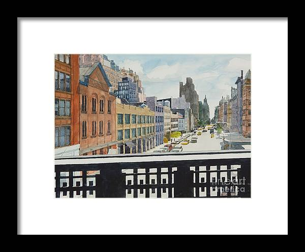 Urban Landscape Framed Print featuring the painting Hiline View Looking East by Robert Bowden