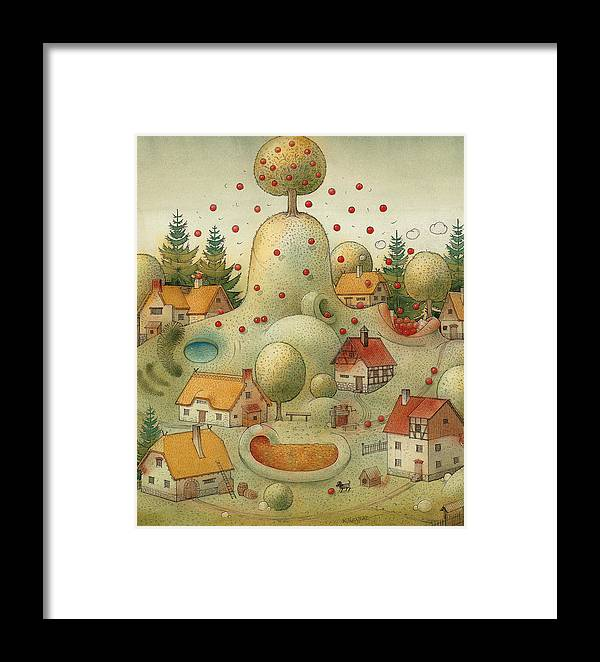 Hill Landscape House Home Apple Giant Autumn Framed Print featuring the painting Hill by Kestutis Kasparavicius