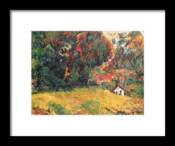 Tree Framed Print featuring the painting On the Hill by Meihua Lu