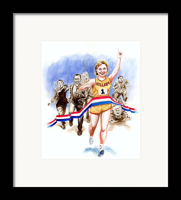Hillary Clinton Framed Print featuring the painting Hillary And The Race by Ken Meyer