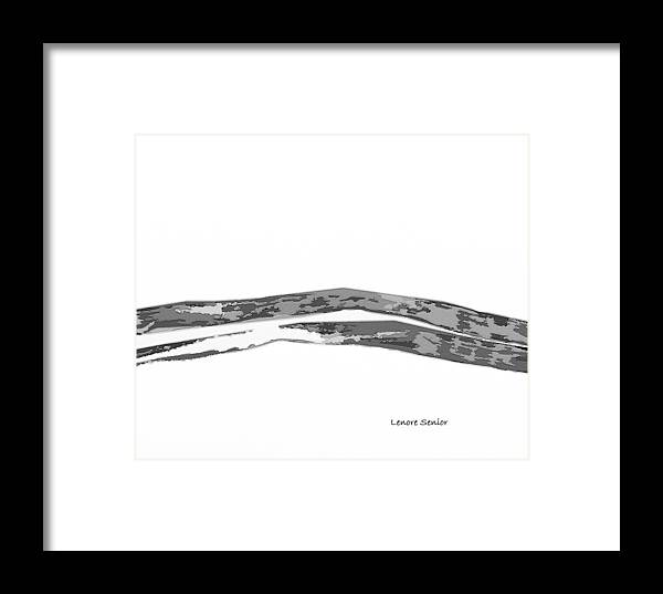 Abstract Framed Print featuring the mixed media Hills In Black And White by Lenore Senior
